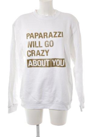 BC Collection Suéter blanco-color oro letras impresas estilo boyfriend