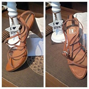 BC Collection High-Heeled Sandals brown leather