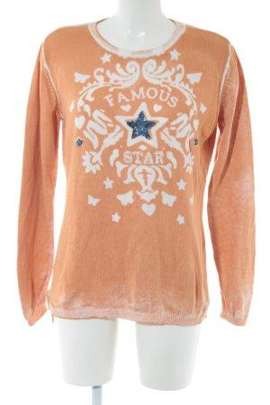 BC Pull tricoté orange clair imprimé avec thème style décontracté