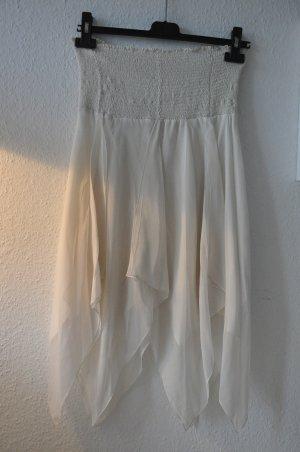 BCBG MAX AZRIA Chiffonkleid aus Seide, weiß, Gr XS