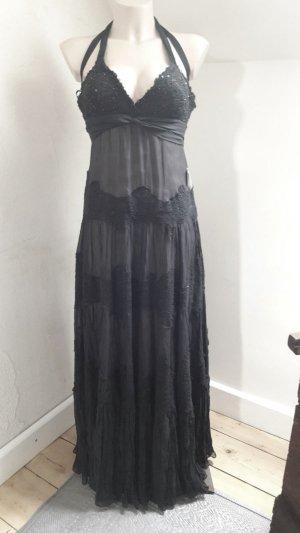 BCBG Max Azria Luxus Kleid Abendkleid Tüll Spitze Schwarz 100 % Seide außen und Baumwolle Spitzen mit Pailletten