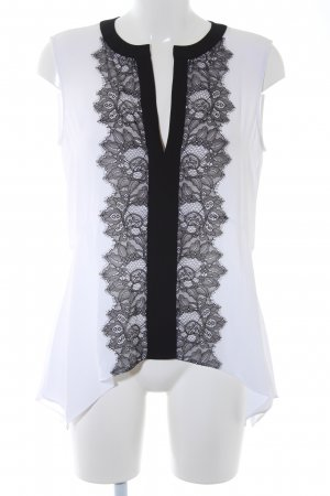 BCBG Maxazria ärmellose Bluse weiß-schwarz Casual-Look