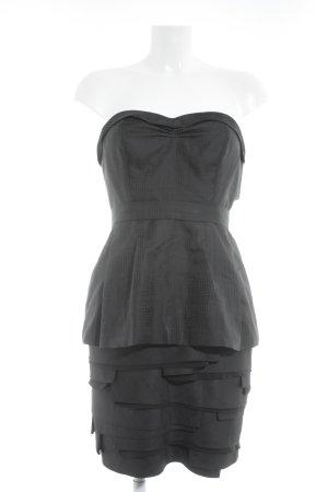BCBG Maxazria Vestido bustier negro estampado a cuadros elegante