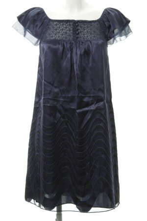 BCBG Maxazria Kurzarmkleid schwarz-dunkelblau Motivdruck Elegant