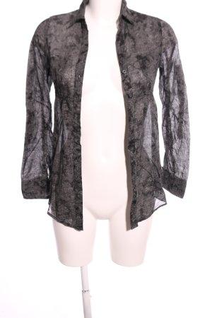 BCBG Maxazria Langarm-Bluse hellgrau-schwarz abstraktes Muster Casual-Look