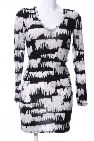 BCBG Maxazria Longsleeve Dress black-white abstract pattern casual look