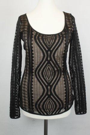 BCBG Maxazria Longsleeve Shirt Gr. S schwarz beige Muster