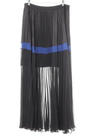 BCBG Maxazria Maxirock schwarz-blau Streifenmuster extravaganter Stil