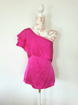 BCBG Maxazria One Shoulder Shirt pink silk