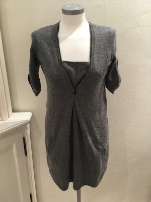 BCBG Maxazria Pullover Strickklied Longshirt grau Wolle XS 34