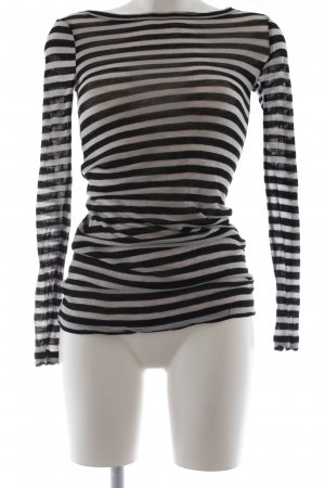 BCBG Maxazria Crewneck Sweater black-light grey striped pattern casual look
