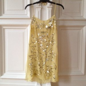 BCBG Maxazria Short Dress Top kleid Kleidchen Seide Pailletten transparent