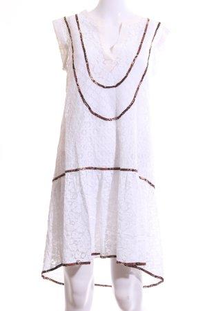 BCBG Maxazria Spitzenkleid weiß-braun Blumenmuster Elegant