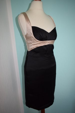 BCBG Satin Kleid Schwarz Creme Gr. 36 US6 Bodycon Bandage Dress
