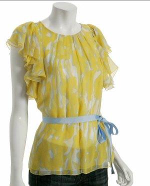 BCBG Seidenbluse mit Taillengürtel gelb blau pastell 34 36