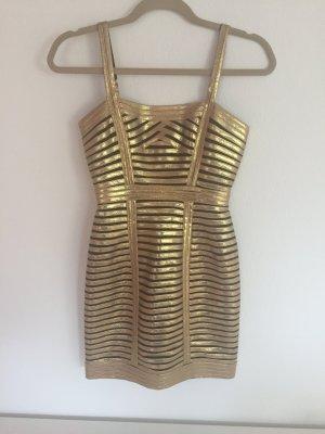 BCBGMazazria Kleid Gold Etuikleid Party 34 XS schwarz BCBG MaxAzria Pailletten