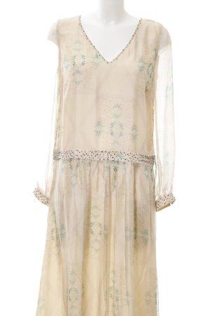 bdba Evening Dress cream-green abstract pattern elegant
