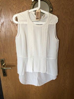 bdba Blusa de manga corta blanco-blanco puro Seda
