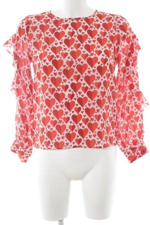 bdba Zijden blouse rood-wit Herzmuster elegant
