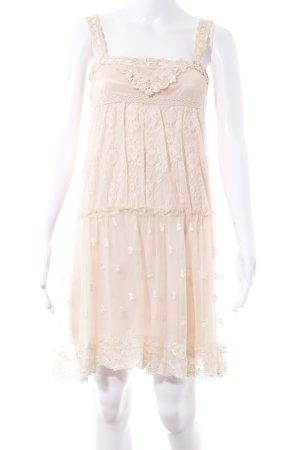 bdba Vestido de encaje crema-rosa estilo romántico