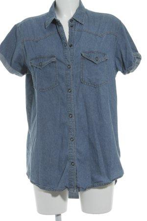 BDG Camicia a maniche corte blu fiordaliso stile country