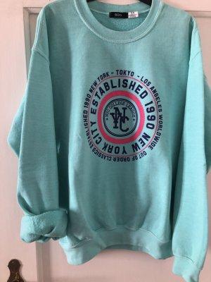 BDG Kraagloze sweater turkoois-lichtblauw