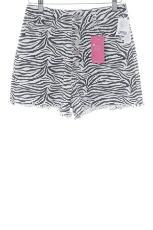 BDG Short noir-blanc cassé motif animal style décontracté