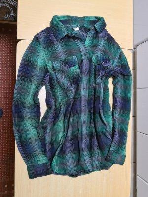 BDG Blouse-chemisier vert forêt-bleu coton