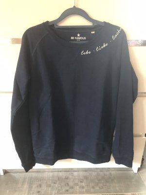 Sweatshirt wit-donkerblauw