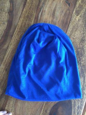 Beanie dünner Stoff neu blau royalblau