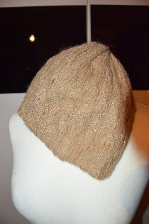 Beanie Mütze Angora Wolle Glitter metallic nude
