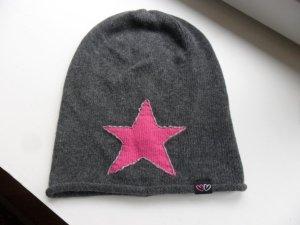 Beanie/Mütze,grau/pink Stern, mit Kaschmir, Neuwertig
