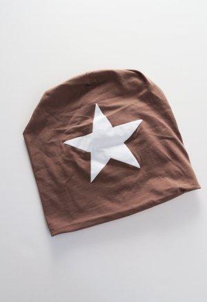 Beanie Mütze mit Stern braun mauve neu