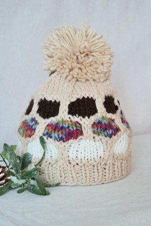 Beanie Strickmütze  Bommelmütze  handmade mehrfarbig