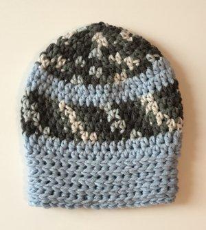 Beanie Wollmütze grau hellblau neu
