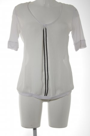 Beate Heymann Blusa de manga corta blanco puro-negro look casual