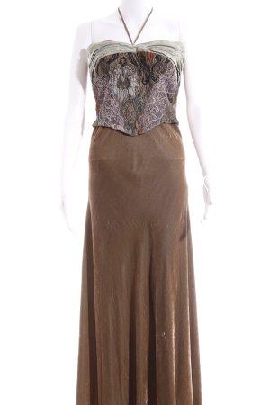 Beate Heymann Maxi abito ocra-marrone-grigio motivo floreale elegante