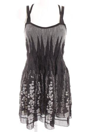 Beate Heymann Streetcouture A-lijn jurk zwart-lichtgrijs bloemenprint