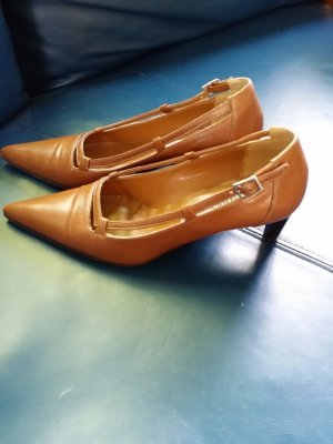Pumps cognac Leer