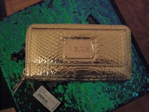 bebe Designer Geldbeutel Clutch Gold Animal print   NEU  NP 55