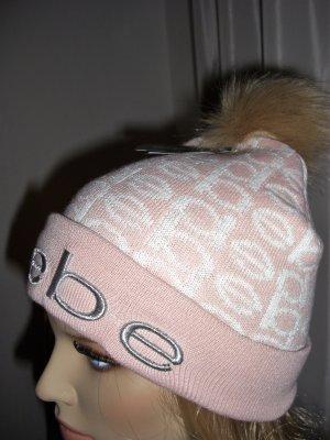 bebe Chapeau en tricot rose-blanc coton