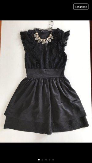 Bébé zartes kleines schwarzes Kleid Spitze Oberteil 34 XS