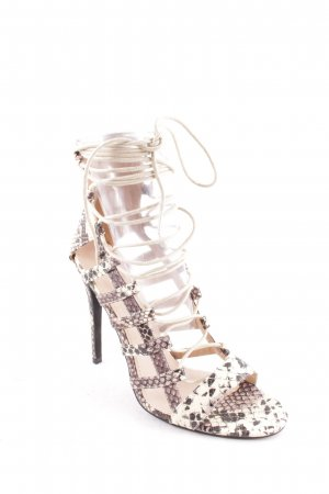 Bebo Strapped High-Heeled Sandals cream-dark brown reptile print