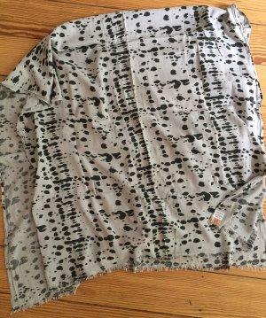 BECK SÖNDERGAARD Tuch Schal grau mit Silber-Perlen mit schwarzen Tupfen