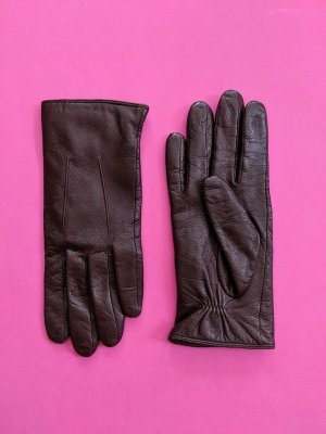Becksöndergaard Leather Gloves dark brown-brown red