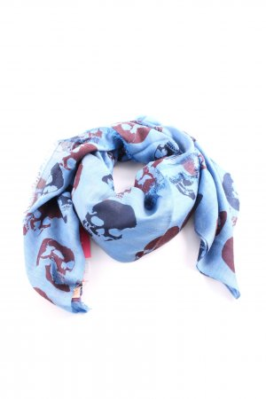 Becksöndergaard Fringed Scarf blue-red allover print casual look
