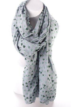 Becksöndergaard Halstuch grün-graublau Motivdruck Romantik-Look