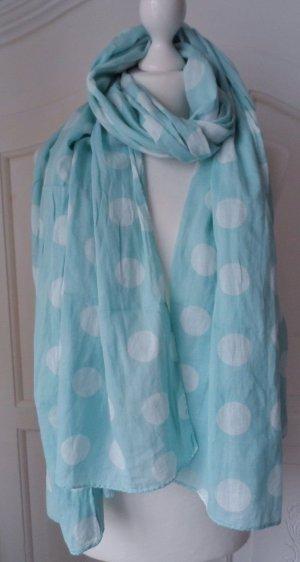 BECKSÖNDERGAARD Schal mit großen Punkten Polka Dots Türkis Weiß nur 1 x getragen