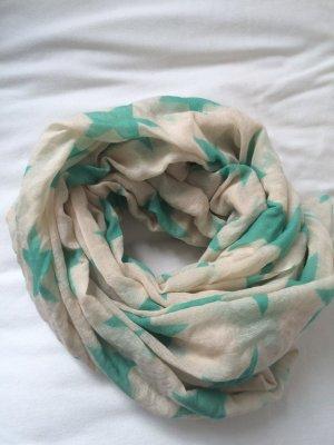 Bufanda de punto crema-turquesa Seda