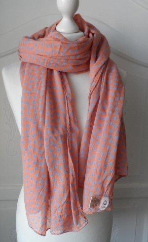 BECKSÖNDERGAARD Schal mit Sternen Orange Blau nur 1 x getragen